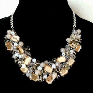 LOFT cluster crystal & gemstone bib necklace NWOT